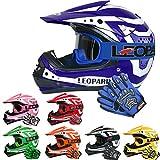 Leopard LEO-X17 Casques Motocross & Gants d'enfants & Lunettes pour Enfants - Bleu L (53-54cm) -...