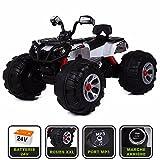 Cristom  Monster Quad électrique 24V pour Enfant Connexion MP3 - MODELE XXL (Blanc)