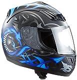Protectwear H510-11-BL Casque de moto intégral, mat noir, avec Motif de Dragon en bleu, Taille: XS