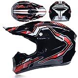 Casque de sécurité pour Enfants, Casque de Moto de Cross-Country avec Lunettes/Gants/Masque