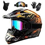 WEITY Casques Motocross Enfant Et Adulte Set,Avec Gants Lunettes Masques,Hommes Casques Intégraux...