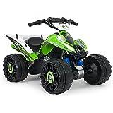 INJUSA Quad Kawasaki ATV, Stable et résistante de Batterie 12V avec Bandes en Caoutchouc en Les...