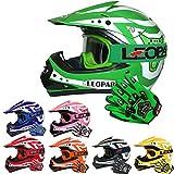 Leopard LEO-X17 Casques Motocross & Gants d'enfants & Lunettes pour Enfants - Vert M (51-52cm) -...