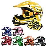 Leopard LEO-X17 Casques Motocross & Gants d'enfants & Lunettes pour Enfants - Jaune XL (55cm) -...